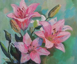 Лилии розовые